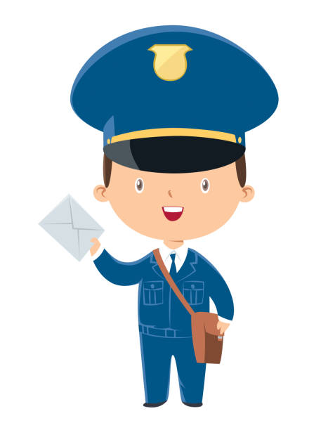 postman holding a mail - postal worker stock illustrations