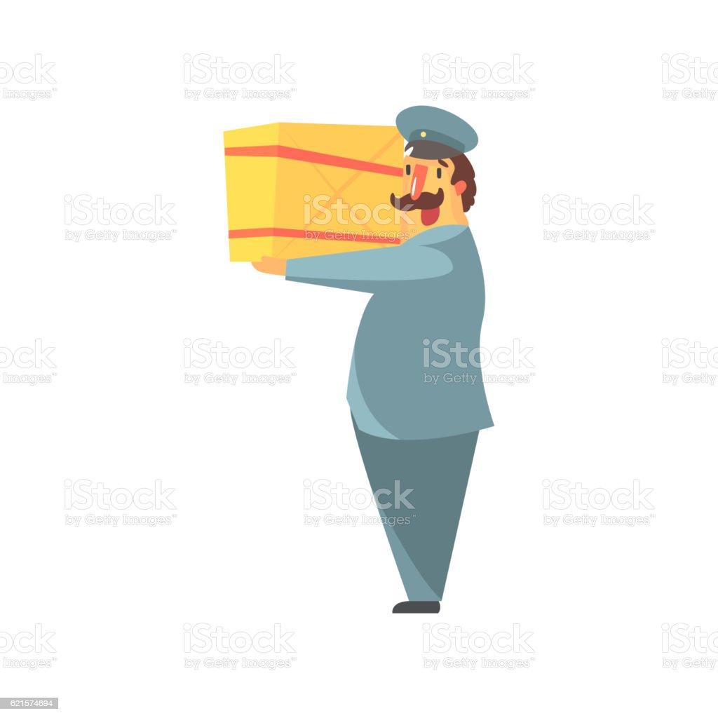 Postman Holding Large Package On Shoulder postman holding large package on shoulder – cliparts vectoriels et plus d'images de adulte libre de droits