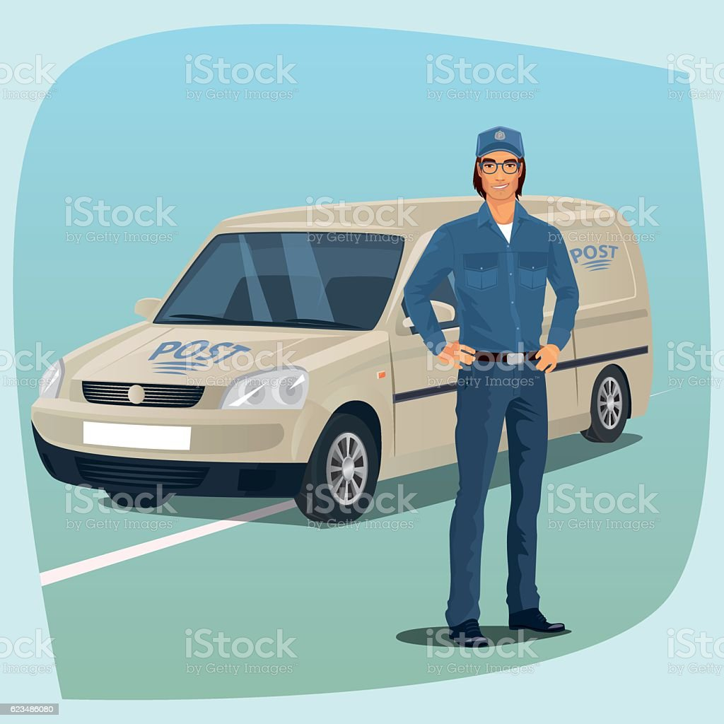 Postman or mail carrier with postal car vector art illustration