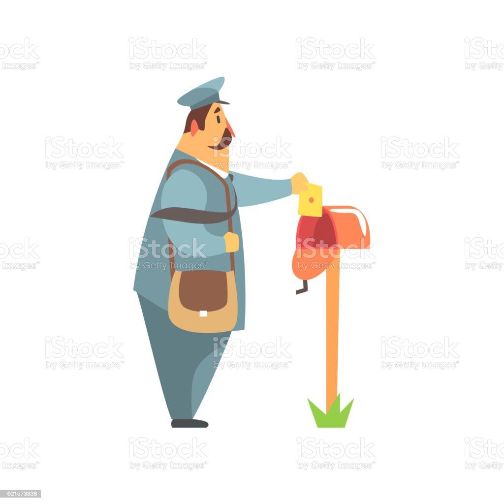 Postman Placing A Letter Into  Mailbox postman placing a letter into mailbox – cliparts vectoriels et plus d'images de adulte libre de droits