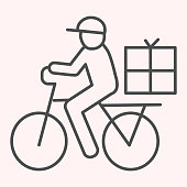 Postman riding bicycle line icon. Mail delivery man on bike with box. Postal service vector design concept, outline style pictogram on white background, use for web and app. Eps 10