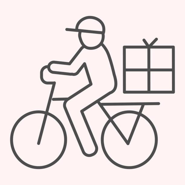 postbote fahrradlinie symbol. postzustellung mann auf dem fahrrad mit box. post-service-vektor-design-konzept, umriss stil piktogramm auf weißem hintergrund, verwendung für web und app. eps 10. - ein mann allein stock-grafiken, -clipart, -cartoons und -symbole