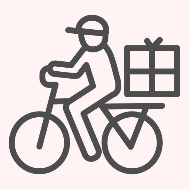 bildbanksillustrationer, clip art samt tecknat material och ikoner med postman ridning cykel linje ikon. mail leverans man på cykel med låda. posttjänst vektor design koncept, disposition stil piktogram på vit bakgrund, användning för webb och app. eps 10. - endast en man
