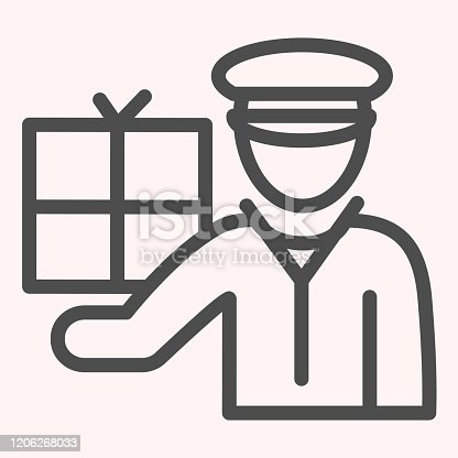 istock Postman with package line icon. Mail man worker with box, courier. Postal service vector design concept, outline style pictogram on white background, use for web and app. Eps 10. 1206268033