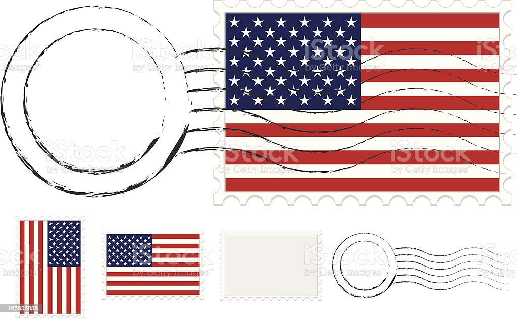 Postmark, Postage Stamps Set with American Flags and Extra Blanks royalty-free postmark postage stamps set with american flags and extra blanks stock vector art & more images of american flag