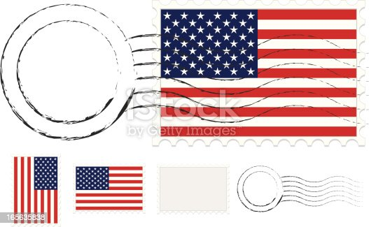 istock Postmark, Postage Stamps Set with American Flags and Extra Blanks 165635838
