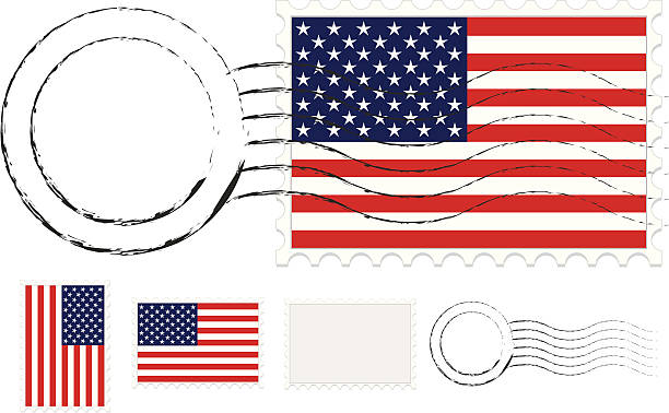 Postmark, Postage Stamps Set with American Flags and Extra Blanks Postage stamps set with two versions of American flags designs (United States flags),  plus optional postmarks. Includes blank postage stamp and separate postmark, too. Use as is, mix and match, etc. postmark stock illustrations