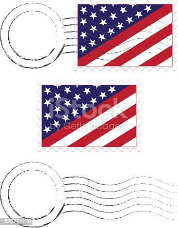 istock Postmark, Postage Stamps Set with American Flags and Extra Blanks 520774176
