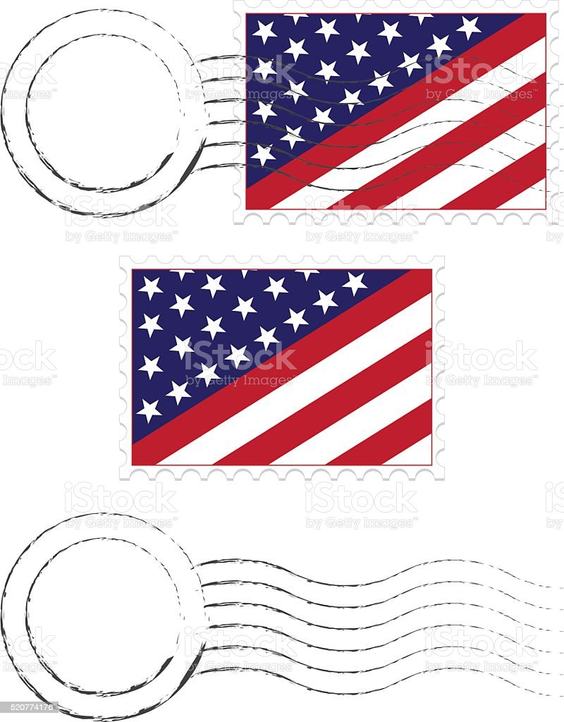 Postmark, Postage Stamps Set with American Flags and Extra Blanks vector art illustration