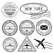 Postmarks and travel stamps. USA cities. Vector illustration isolated on white background