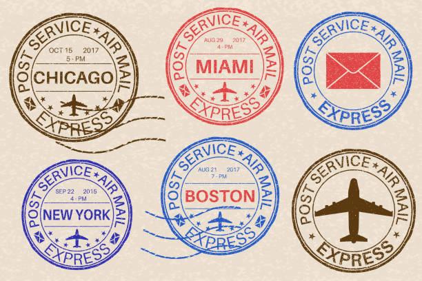 Postmarks. Collection of ink stamps on beige background Postmarks. Collection of ink stamps on beige background. Vector illustration postmark stock illustrations