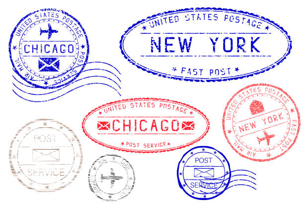 Postmarks NEW YORK and CHICAGO. Blue and red ink postal elements Postmarks NEW YORK and CHICAGO. Blue and red ink postal elements. Vector illustration isolated on white background airport borders stock illustrations