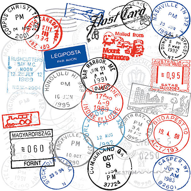 Postmarks A large collection of postmarks from many locations. Each postmark is grouped separately for easy editing and use. postmark stock illustrations