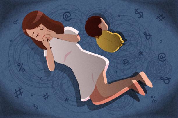 産後うつ病の概念 - シングルマザー点のイラスト素材/クリップアート素材/マンガ素材/アイコン素材