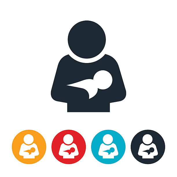 Postpartum Depression Icon vector art illustration