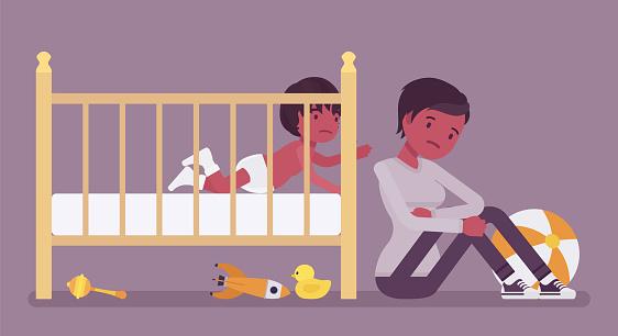 Postpartum depression, new black mum in anxiety after childbirth