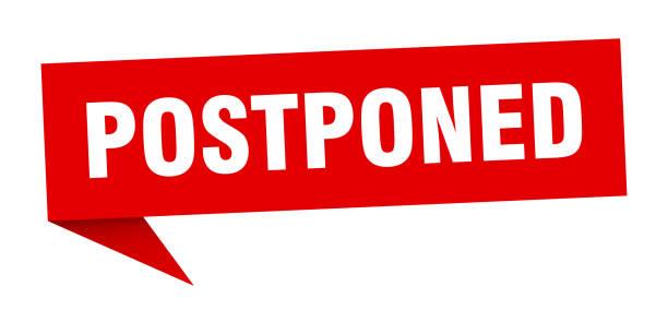 postponed banner. postponed speech bubble. postponed sign vector art illustration