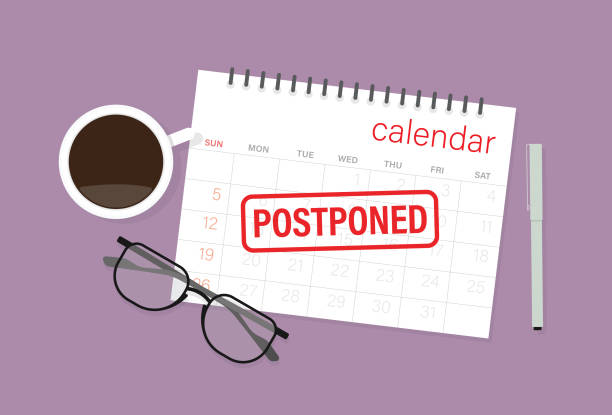 illustrazioni stock, clip art, cartoni animati e icone di tendenza di postponed rubber stamp on a calendar with a pen, coffee cup, and eyeglasses - business meeting, table view from above
