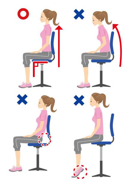 Posture when sitting. Posture when sitting. good posture stock illustrations