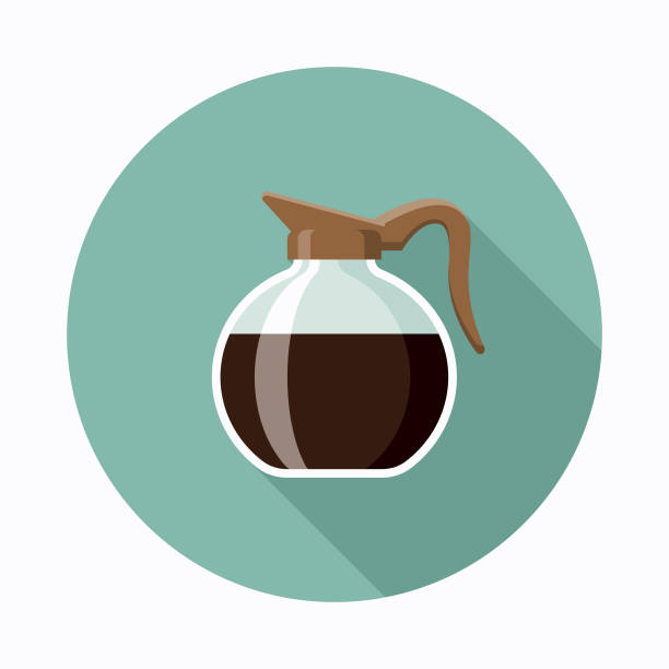 Pot Flat Design Coffee & Tea Icon A flat design styled coffee & tea icon with a long side shadow. Color swatches are global so it's easy to edit and change the colors. coffee pot stock illustrations