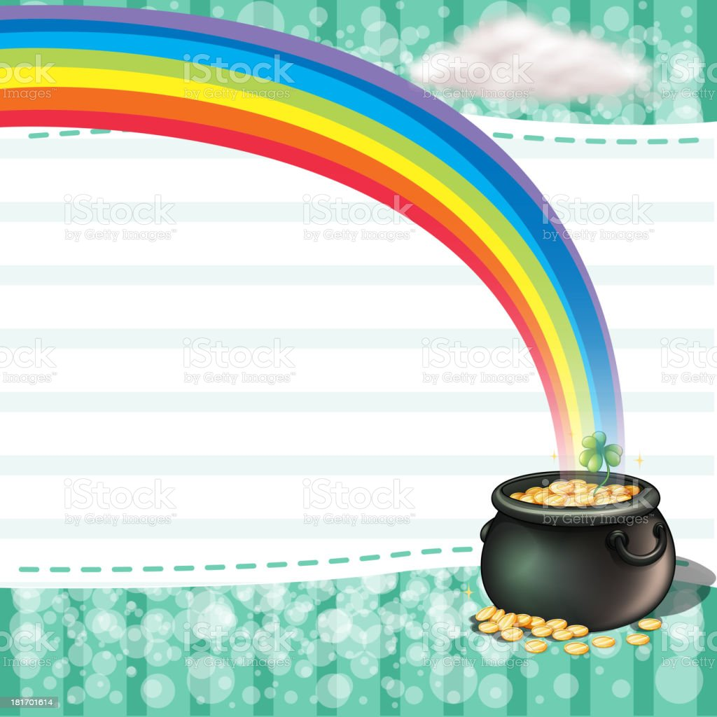 Pot full of coins with a clover plant royalty-free stock vector art