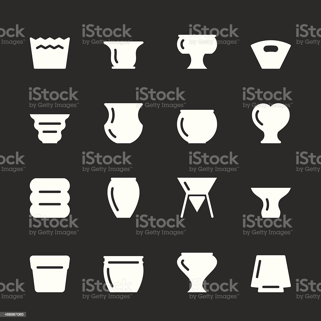 Pot Icons - White Series royalty-free pot icons white series stock vector art & more images of amphora
