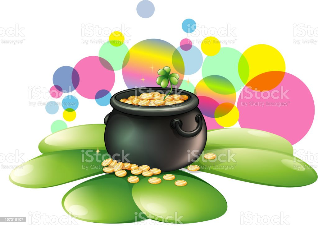 Pot of gold above the big clover leaves royalty-free pot of gold above the big clover leaves stock vector art & more images of anniversary