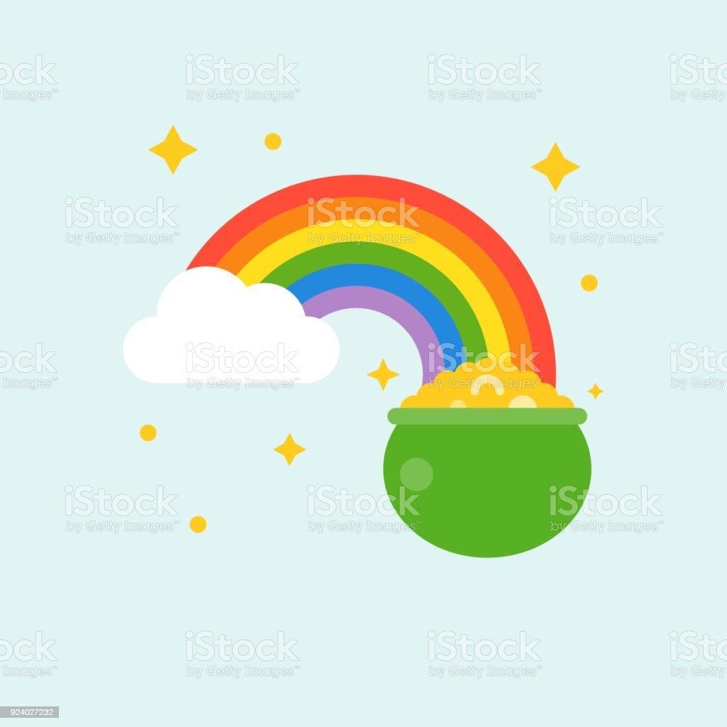 Diseño Del Rainbow Warrior Iii: Ilustración De Olla De Oro Al Final Del Arco Iris Icono