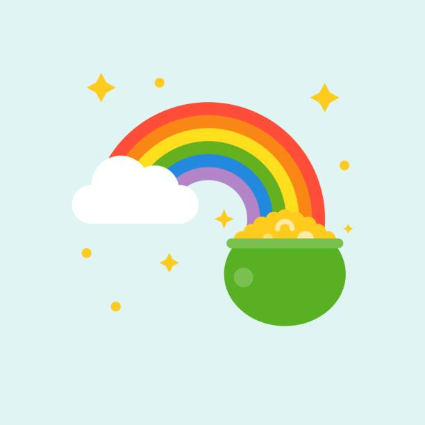 pot of gold at end of rainbow , st patrick's day flat design icon pot of gold at end of rainbow , st patrick's day flat design icon rainbow stock illustrations