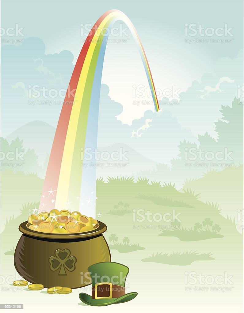 Pot Of Gold At Rainbow's End royalty-free stock vector art
