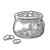 Pot of gold coins.. Vector vintage engraving black illustration
