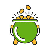 Pot of gold color icon. Leprechaun's treasure. Saint Patrick's Day symbol. Isolated vector illustration