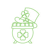 Pot of Gold flat icon vector illustration. Pot of Gold icon design isolated on white background. St. Patricks Day vector illustration. St. Patrick's Day vector icon trendy flat symbol.