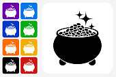 Pot of Gold Icon Square Button Set. The icon is in black on a white square with rounded corners. The are eight alternative button options on the left in purple, blue, navy, green, orange, yellow, black and red colors. The icon is in white against these vibrant backgrounds. The illustration is flat and will work well both online and in print.