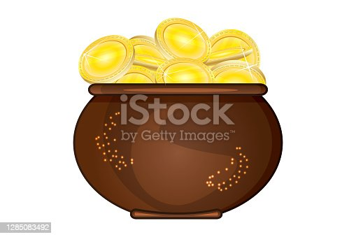 istock Pot of gold isolated on white background. Brown cauldron full of golden coins. Saint Patricks day. 1285083492