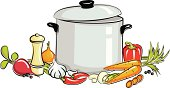 Illustration of vegetables and pot of soup