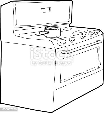 Pot On Top Of Stove Outline Stock Vector Art Amp More Images