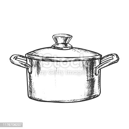 Pot Stainless Cooking Kitchenware Vintage Vector. Metallic Kitchen Accessory Pot For Boiling Water And Cook Food. Saucepan Engraving Template Designed In Vintage Style Black And White Illustration