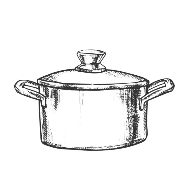 Pot Stainless Cooking Kitchenware Vintage Vector vector art illustration