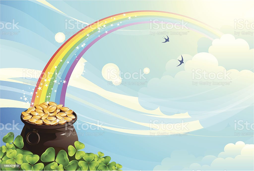 Pot with coins vector art illustration
