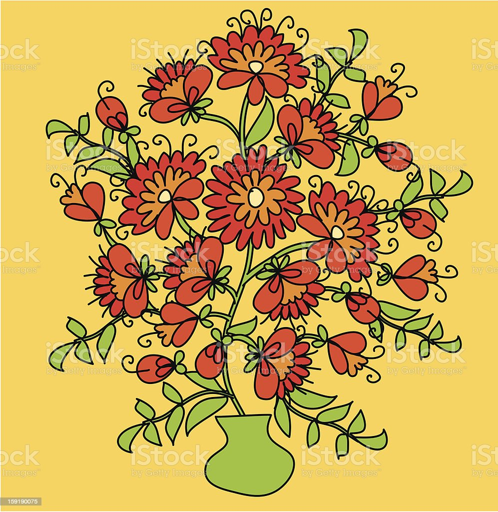 pot with flower royalty-free stock vector art