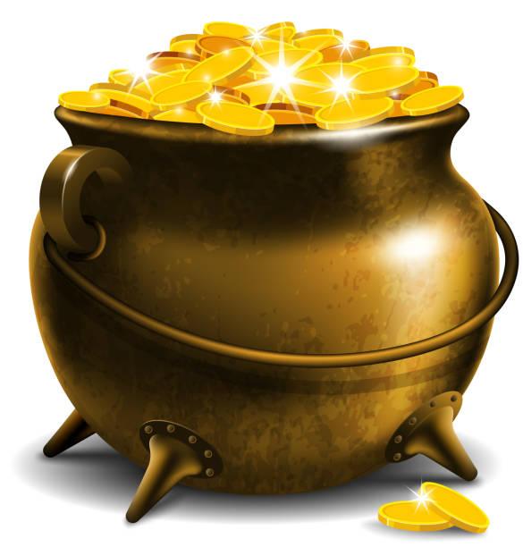 pot  gold illustrations royalty  vector graphics