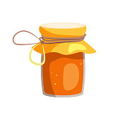Pot with honey cartoon illustration. Glass jar with string and paper cap. Honey concept. Vector illustration can be used for topics like nature, organic food, dessert
