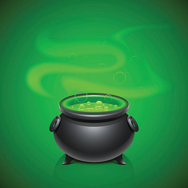 Pot with magical potion An old pot with green magical potion love potion stock illustrations