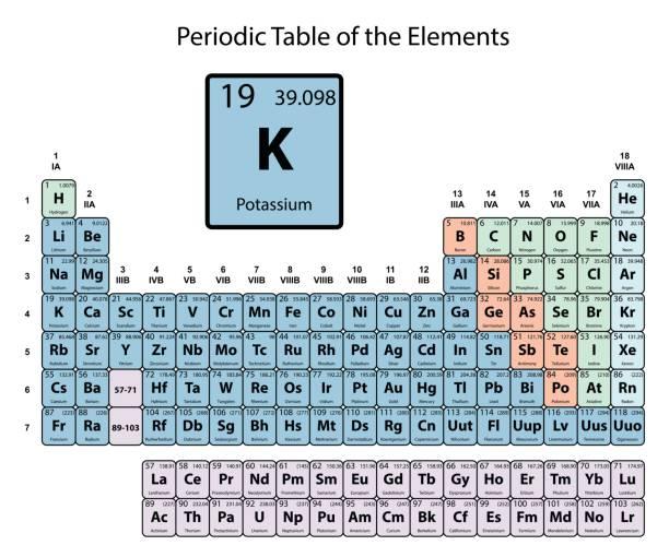 stockillustraties, clipart, cartoons en iconen met kalium groot op periodiek systeem van de elementen met een atoomnummer - kalium