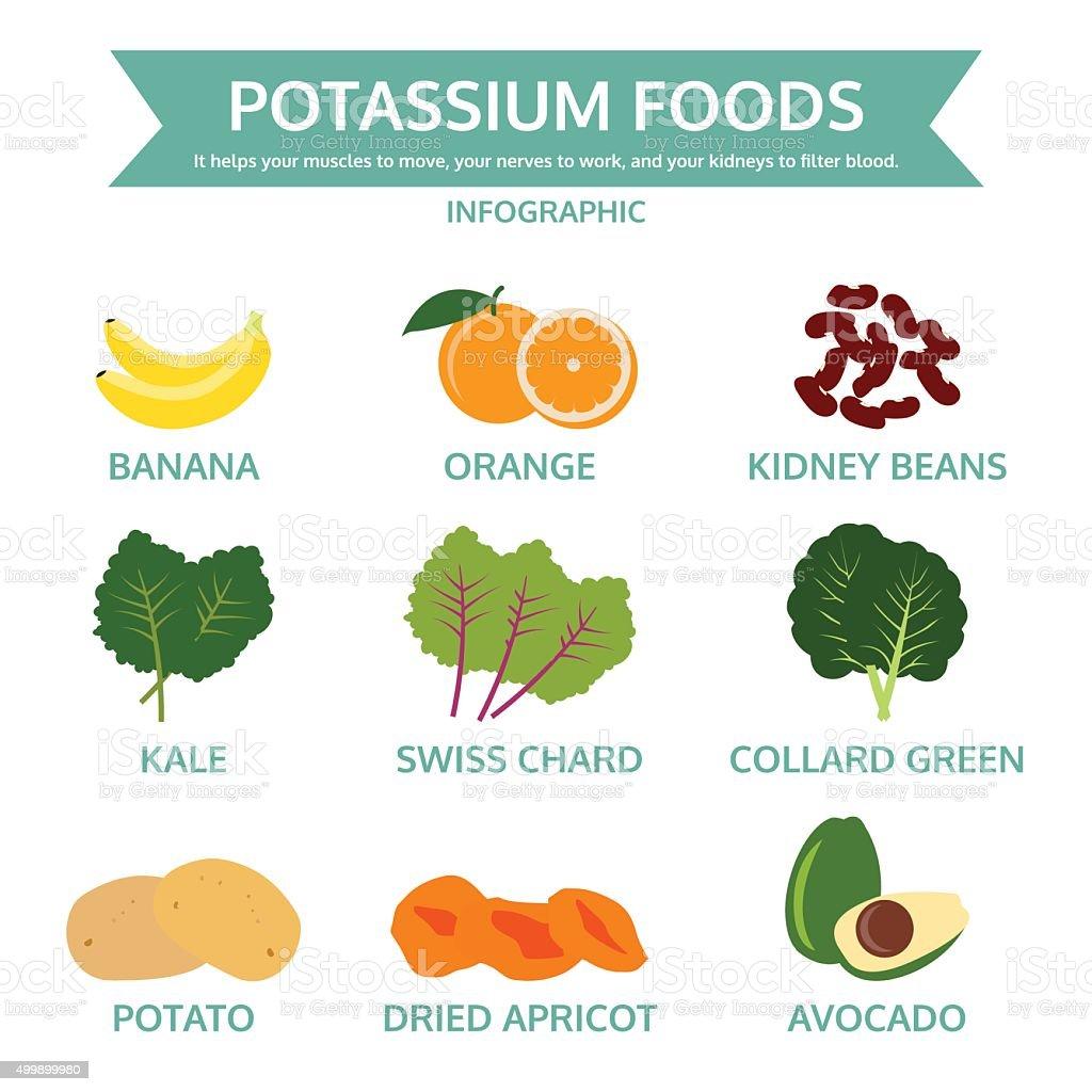 potassium foods, food info graphic, vector vector art illustration
