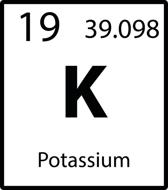 stockillustraties, clipart, cartoons en iconen met pictogram van het kleur van kalium periodiek element op witte achtergrond vector - kalium