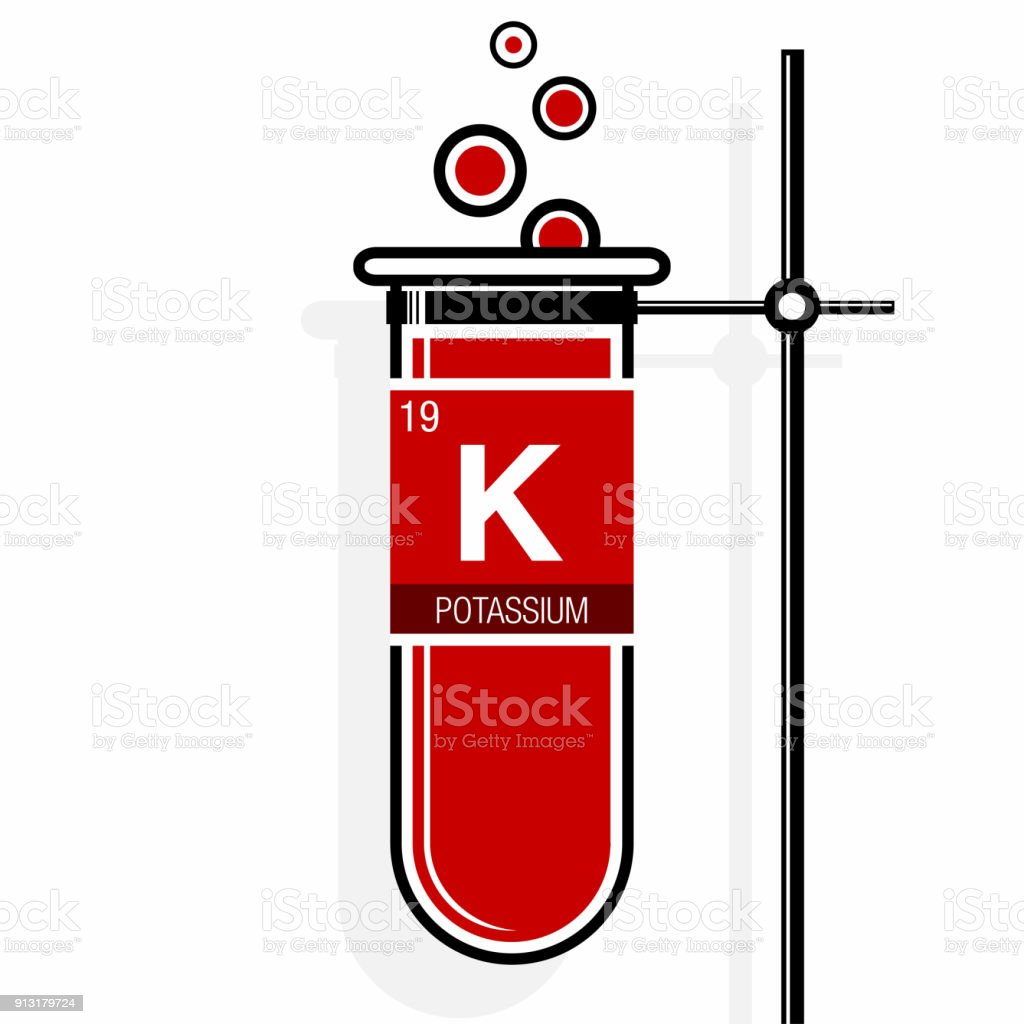 Potassium symbol on label in a red test tube with holder element periodic table save potassium symbol on label in a red test tube with holder element number 19 of urtaz Image collections