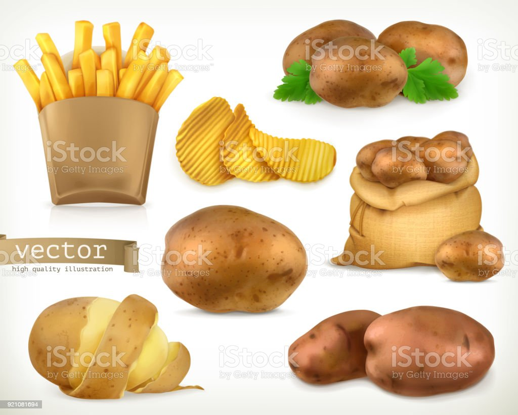 Potato and fry chips. Vegetable 3d vector icon set vector art illustration