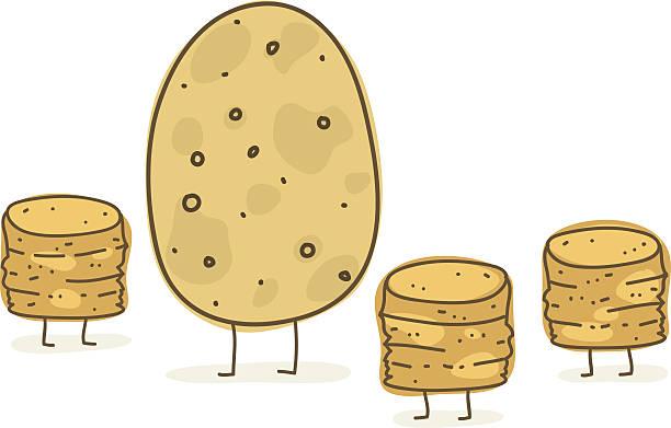kartoffel und ihre kinder - kartoffeln stock-grafiken, -clipart, -cartoons und -symbole
